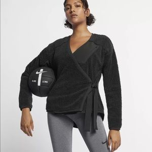 Nike Long Sleeve Sherpa Training Wrap Top Black